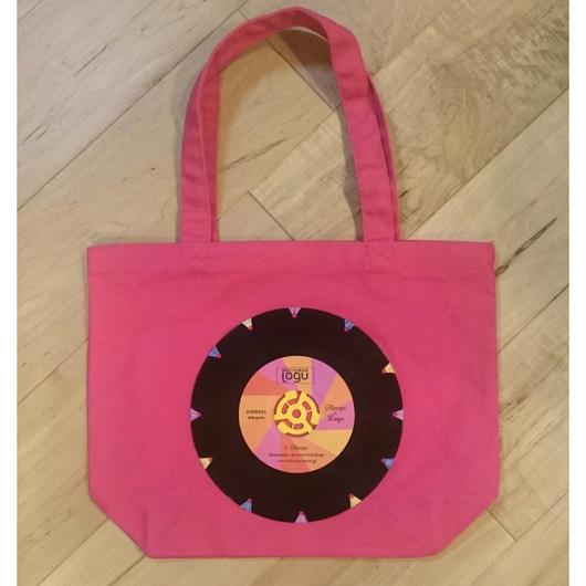 本物のレコードを使ったバッグ 「bagu」canvas tote S  pink