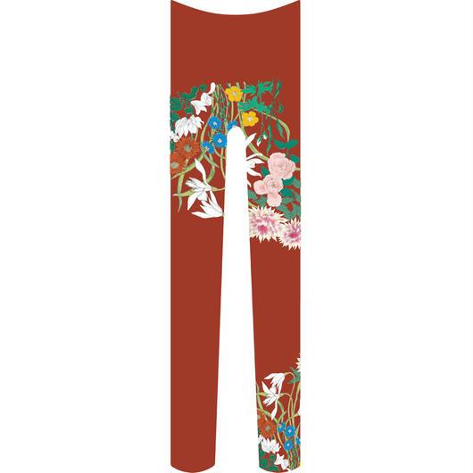 花 タイツ 紅海老茶色