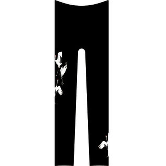 鶴  レギンス ワンポイント 黒色