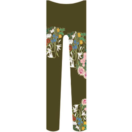 花 タイツ 海松色