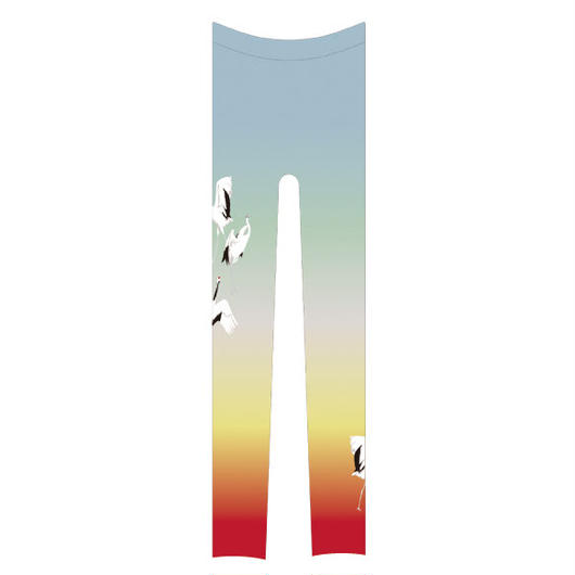 鶴 レギンス ワンポイント 虹色
