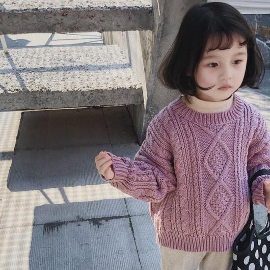 キッズ ケーブルニット プルオーバー 韓国子供服 長袖 男の子 女の子 トップス 丸首 秋冬 新作 こども KIDS 子供 ケーブル編み ラウンドネック 定番 送料無料 TAGX11465