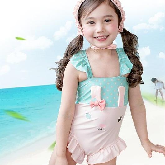 キッズ 子ども服 子ども水着 水泳用品 女の子用水着 アニマルモチーフ 女の子 水着 キッズ水着 水着セット 帽子付き ウサギ 可愛い 夏 海水泳 プール ビーチ TAGX11226
