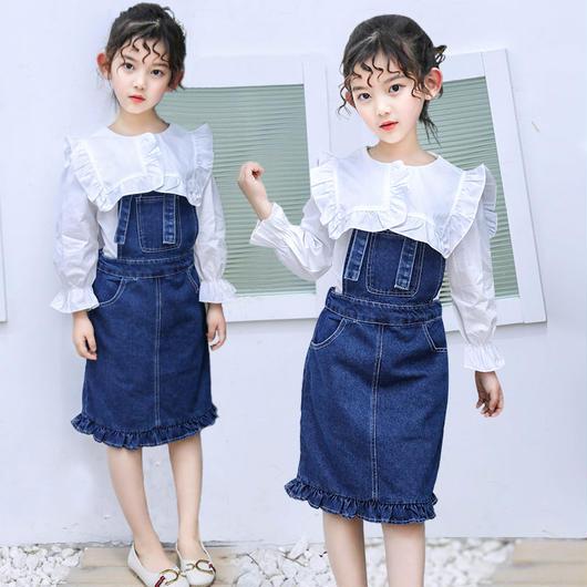 キッズ デニムサロペットスカート+ブラウスシャツ セットアップ 2点セット 女の子 カジュアル子供服 シンプル ホワイト 長袖 入学式 女の子 韓国子供服 トップス ブラウス TAGX11618