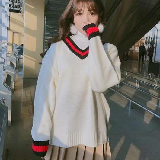 トップス ニット セーター 長袖 ゆったり 可愛い 学生風 Vネック 韓国 秋 冬 ニットセーター オーバーフィット 大きめサイズ ビッグサイズ 無地 お出かけ デート TAGX11389