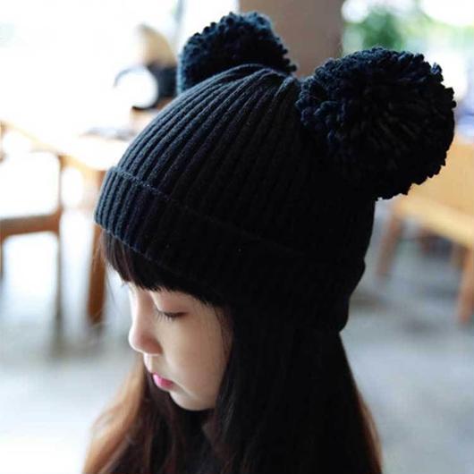 ポンポン付きキッズニット帽 子供 ニット 帽子 キッズ 子供 男の子 女の子 ニット帽 ニットキャップ あったか 子供帽子 キッズ帽子 防寒 かわいい プレゼント クマ くま耳 TAGX11522