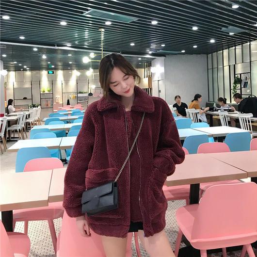 ジャケット アウター ブルゾン ジャンパー 羊毛 ボア ブルゾンジャケット ボア生地 ジップアップ コート オーバーサイズ ボアジャケット ゆったり もこもこ 韓国 TAGX11534
