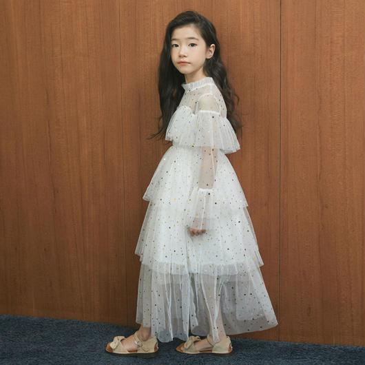 173e69d3581a9 キッズ女の子 長袖 ラメ ロング丈 レースワンピース チュールスカートブラウン チュチュスカート ナチュラル系 韓国