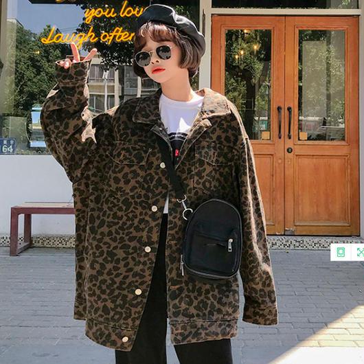 オーバーサイズ レオパード柄(ヒョウ柄)ジャケット ブルゾン アウター アニマル柄 派手かわいい ブラウン グレー フリーサイズ 10代 20代 韓国風 送料無料 TAGX11486
