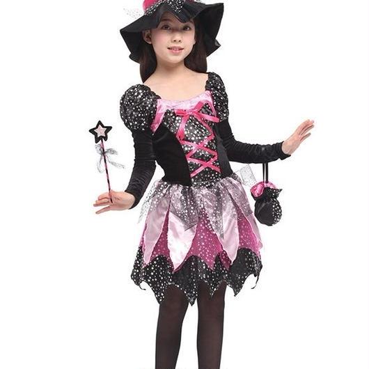 キッズ ベビー服 コスチューム ハロウィン キッズ用 ハロウィン衣装 魔女 衣装 帽子 ワンピース キャンディ袋 魔法の杖 4点セット クリスマス 女の子 魔法使い TAGX11261