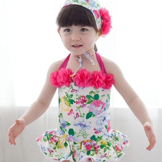 キッズ 子ども水着 水泳用品 女の子用水着 スポーツ 水泳 ファッション水着 夏 花柄 水着 女の子 ワンピース 帽子付き キッズ水着 プール フラワー柄 フリル TAGX11020