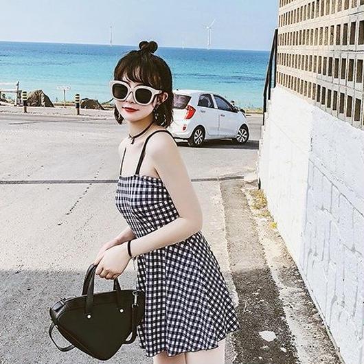 体型カバー チェック柄 ギンガムチェック ベアワンピ フレア スカート かわいい セクシー ブラック ホワイト レディース デート 女の子らしい 送料無料 TAGX10925