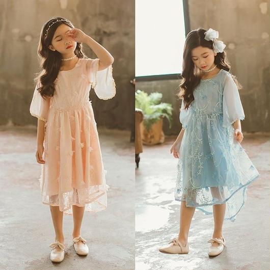 シフォン女の子ワンピース パーティー 結婚式 子供レース ワンピース 子どもドレス フォーマルドレス キッズ 子供ドレス キッズ 5分袖