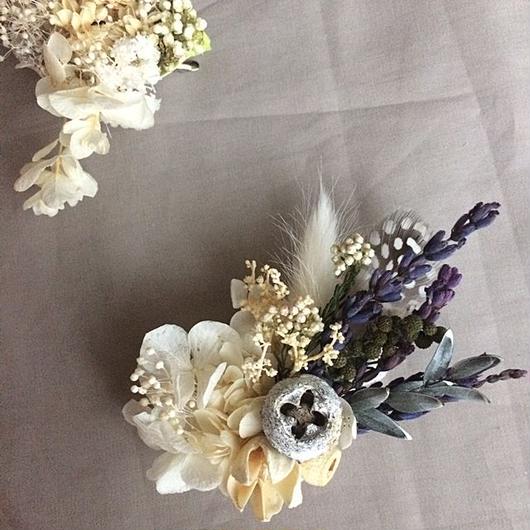 Hydrangea and lavender corsage