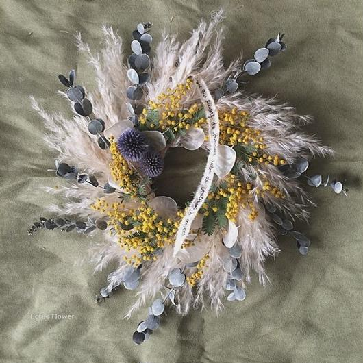 Mimosa and Pampas wreath
