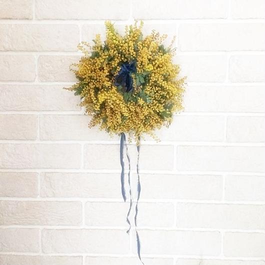 Fresh mimosa&ribbon wreath