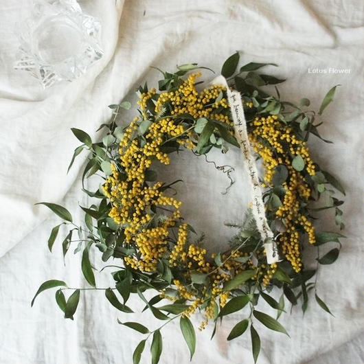 Mimosa and Italian Ruskas wreath