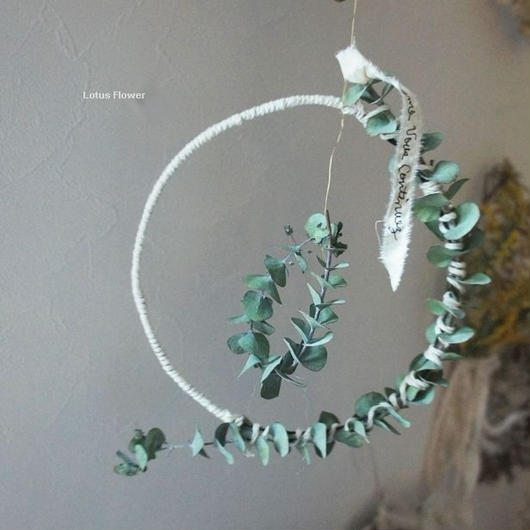 Eucalyptus and cotton flying wreath