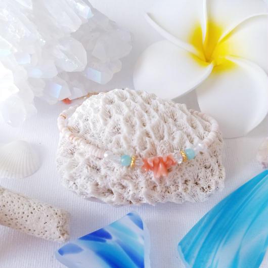 ピンク珊瑚の14kGfアジャスターブレスレット