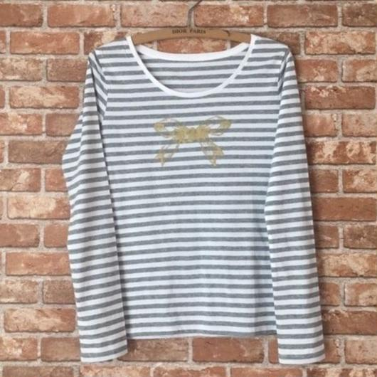 MARBLE & Co. リボン ボーダーTシャツ [grey]