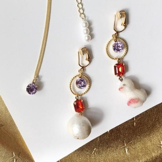 """LYS-fantasia for your dress-  【SET】""""chick & lavender"""" イヤリング(ピアス)&ネックレスセット"""