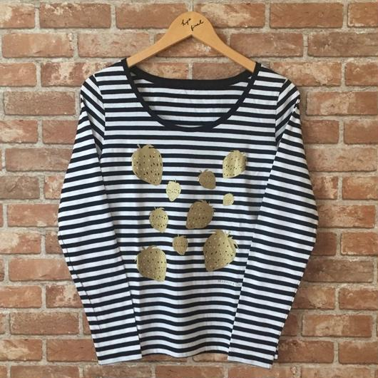 MARBLE & Co. いちごの長袖Tシャツ [black]