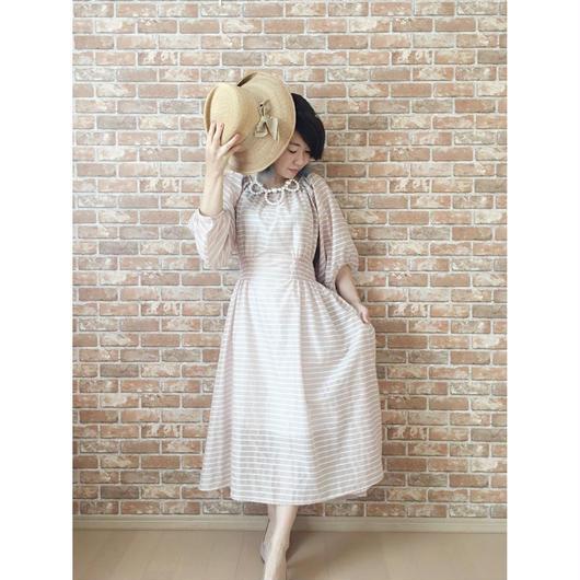 LYS -fantasia for your dress- Marie Dress  [pinkbeige stripe]