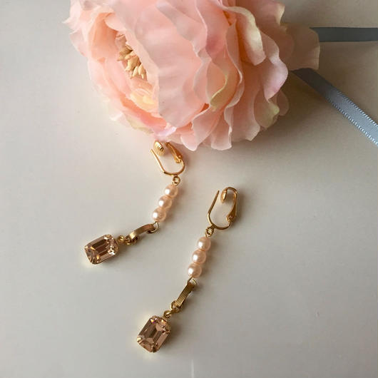 """Marie""ピアス/イヤリング [peach pink]"