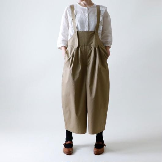 【受注生産 / 約2ヶ月半後のお届け】MAGALI サロペット・ワイドタック・パンツ/ベージュ