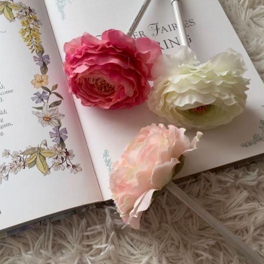 MARBLE & Co. お花のボールペン ラナンキュラス  [rose pink, light pink, white  (リボンなし)]