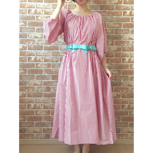 LYS -fantasia for your dress- Marie Dress  [red stripe]