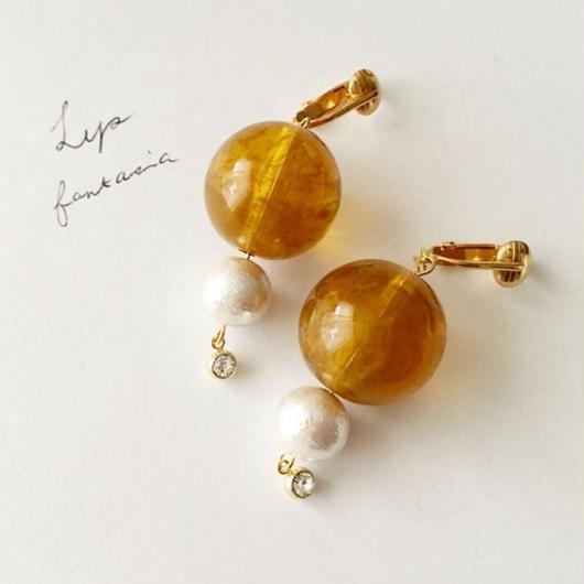 "LYS-fantasia for your dress- ""Bon Bon""ピアス/イヤリング [mustard]"