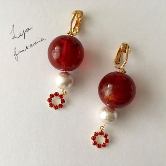 "LYS-fantasia for your dress- ""Bon Bon""ピアス/イヤリング [red]"