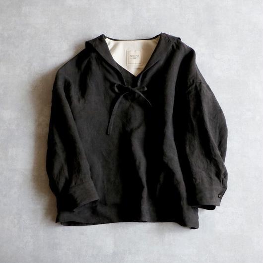 【受注生産 / 約2ヶ月半後のお届け】MAGALI セーラーカラー・リネン・ブラウス/ブラック