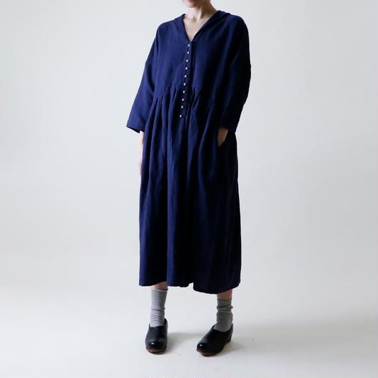 【受注生産 / 約3ヶ月半後のお届け】MAGALI ショールカラー・ワンピース/ネイビー