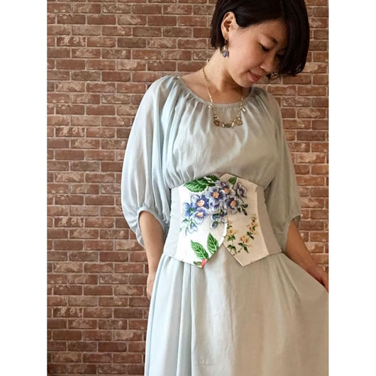 LYS -fantasia for your dress- アメリカ製ヴィンテージ・フラワーファブリック使用 ビスチェ [ice grey ]