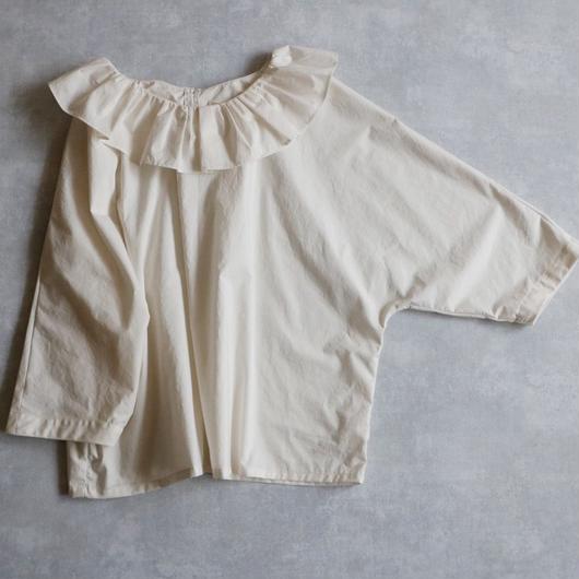 【受注生産 / 約2ヶ月半後のお届け】MAGALI フリル襟ドルマン・ブラウス/アイボリー