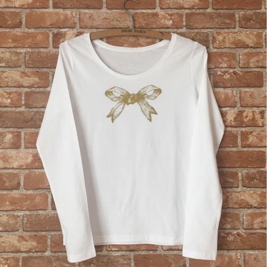 MARBLE & Co. リボンの長袖Tシャツ [white/gold]