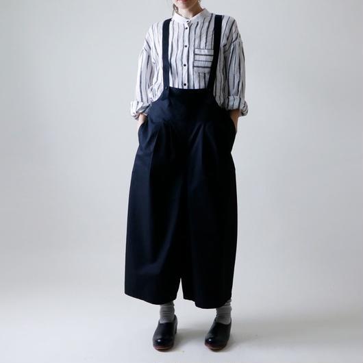 【受注生産 / 約2ヶ月半後のお届け】MAGALI サロペット・ワイドタック・パンツ/ブラック