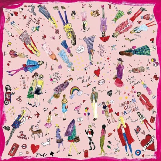 SHOKO シルクスカーフ「LONDON GIRLS」[pink]