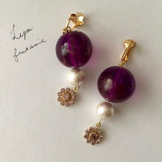 "LYS-fantasia for your dress- ""Bon Bon""ピアス/イヤリング [purple]"