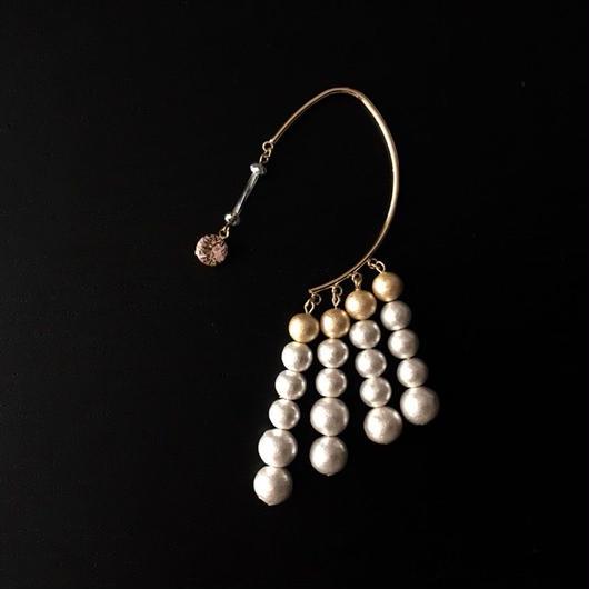 "LYS -fantasia for your dress- ""Lien""イヤーフック [white/gold  (スワロ:vintage rose ]"