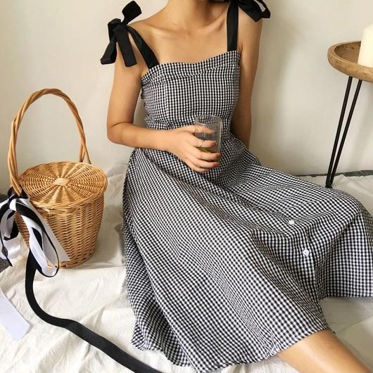 GinghamCheck A-line ONE piece