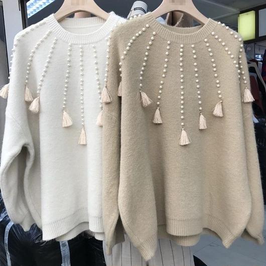 【☆2018☆New year SALE】pearl fringe BIG knit