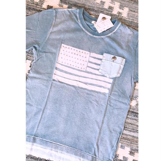 インディゴアメリカ国旗Tシャツ