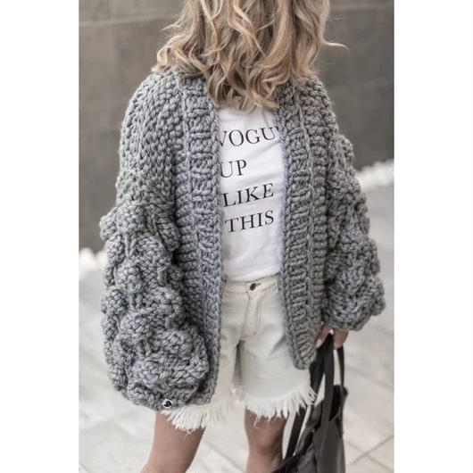 gray volume cardigan