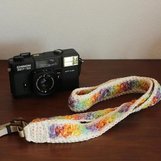 【てしごと屋】丁寧に手編みした、カメラストラップ<アイスクリーム>