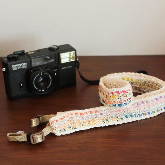 【てしごと屋】世界にひとつだけの、手編みカメラストラップ<ビタミンポップ>