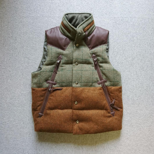 makufuri Tweed down Vest〈Green×Bluegray-Check〉