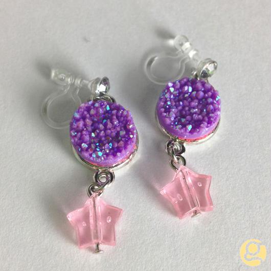 スター イヤリング(ピアス) 紫